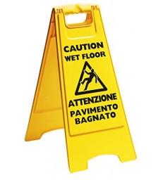 """PANNELLO """"ATTENZIONE PAVIMENTO BAGNATO"""""""